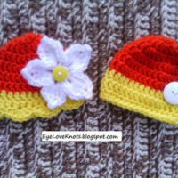Crochet Preemie Fall Yellow and Orange Embellished Twin Hats – FREE Pattern