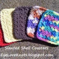 Crochet Slanted Shell Coasters – Free Pattern