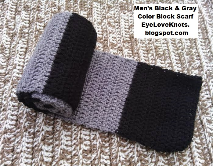 Mens Black And Gray Color Block Scarf Free Crochet Pattern