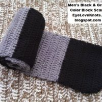 Men's Black and Gray Color Block Scarf – Free Crochet Pattern