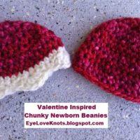 Newborn Twin Chunky Beanies – Valentine's Inspired – Free Crochet Pattern