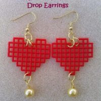 Red Heart Golden Pearl Drop Earrings – Easy Jewelry DIY