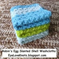 Robin's Egg Slanted Shell Washcloths – Free Crochet Pattern