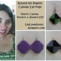 Round-ish Plastic Canvas Earrings in 3 Sizes – Free Plastic Canvas Pattern & Jewelry DIY