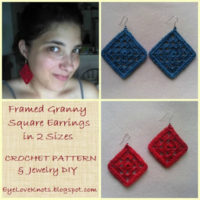 Framed Granny Square Earrings in 2 Sizes – Free Crochet Pattern & Jewelry DIY