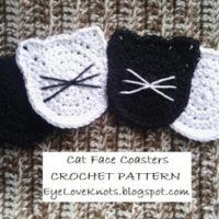 Cat Face Coasters – Free Crochet Pattern