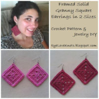 Framed Solid Granny Square Earrings in 2 Sizes – Free Crochet Pattern & Jewelry DIY