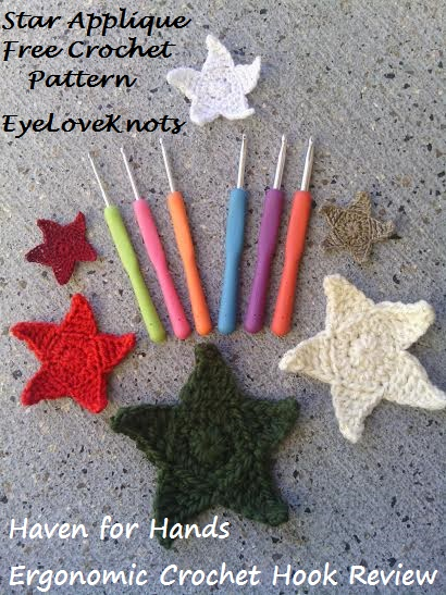 Star Applique In 6 Sizes With Haven For Hand Ergonomic Crochet Hooks