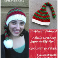 Adult Granny Square Elf Hat – Free Crochet Pattern