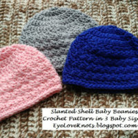 Slanted Shell Baby Beanies – 3 Sizes – Free Crochet Pattern