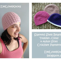 Slanted Shell Beanie – Toddler, Child, Adult Sizes – Free Crochet Patterns