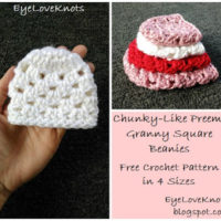 Chunky-Like Preemie Granny Square Beanies – 4 Sizes – Free Crochet Pattern