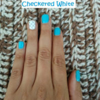 April 2017 Nails: Mod Blue & Checkered White for Spring