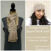 Vintage Granny Square Hat & Scarf – Free Crochet Patterns