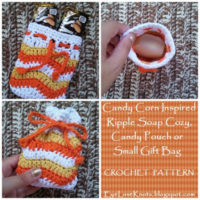 Candy Corn Inspired Ripple Soap Cozy, Candy Pouch or Small Gift Bag – Free Crochet Pattern