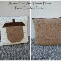 Acorn Pixel Art Throw Pillow – Free Crochet Pattern