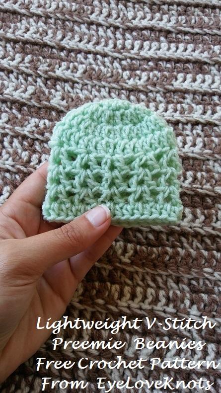 Lightweight V Stitch Preemie Beanies Free Crochet Pattern