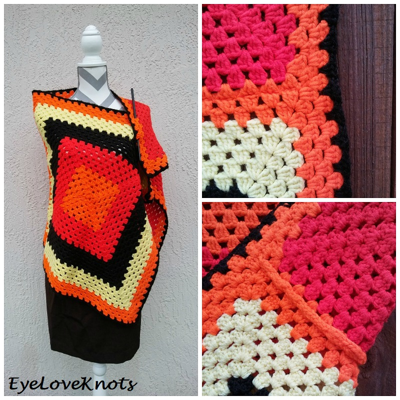 Fall Inspired Granny Square Rectangle Shawl Free Crochet Pattern