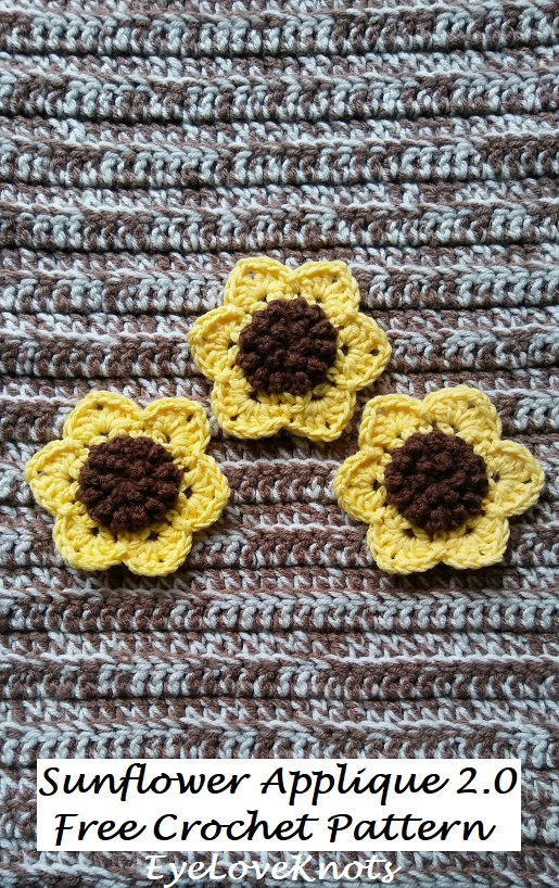 Sunflower Applique 20 Free Crochet Pattern