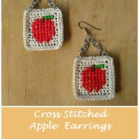 Cross Stitched Apple Earrings – Free Crochet, Cross Stitch & Jewelry Pattern