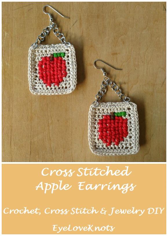 Cross Stitched Apple Earrings Free Crochet Cross Stitch Jewelry