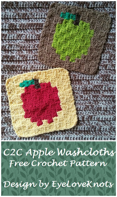 C2c Apple Washcloths Free Crochet Pattern
