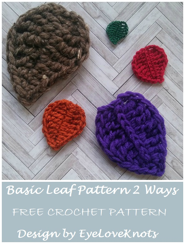 Basic Leaf Pattern 2 Ways Free Crochet Pattern