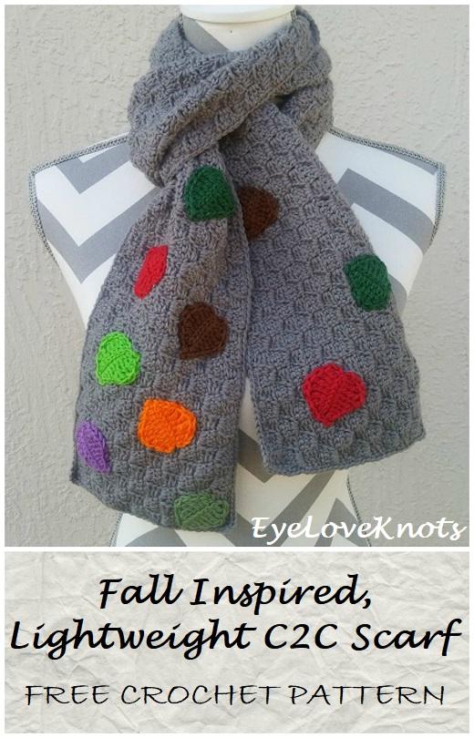 Fall Inspired Lightweight C2c Scarf Free Crochet Pattern