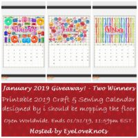 January Giveaway – Printable Craft & Sewing Calendar