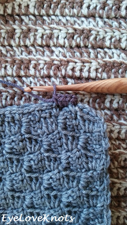 Close up of single crochet stitches on throw pillow border