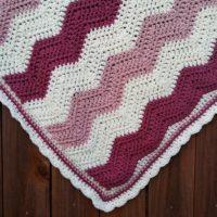 Raspberries & Cream Ripple Baby Blanket – Free Crochet Pattern