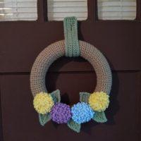 Pastel Hydrangea Wreath – Free Crochet Pattern