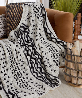 Mud Cloth Inspired Throw (Free Crochet Pattern) from Red Heart Yarns/Yarnspirations, On Rockwood Lane