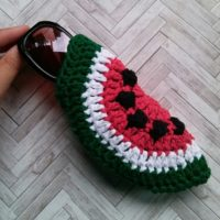Watermelon Slice Sunglass Pouch – Free Crochet Pattern