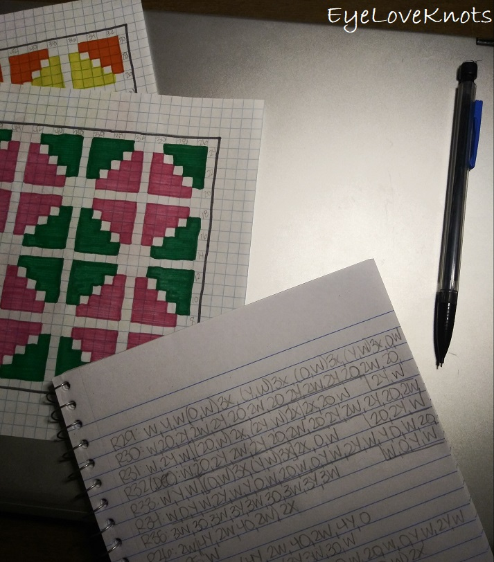 Behind the scenes as a crochet blogger and designer showing charts and deciphering pattern