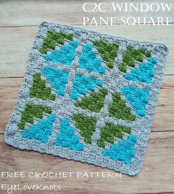 Title image of C2C Window Pane Square - a geometric print of blue and green triangles.