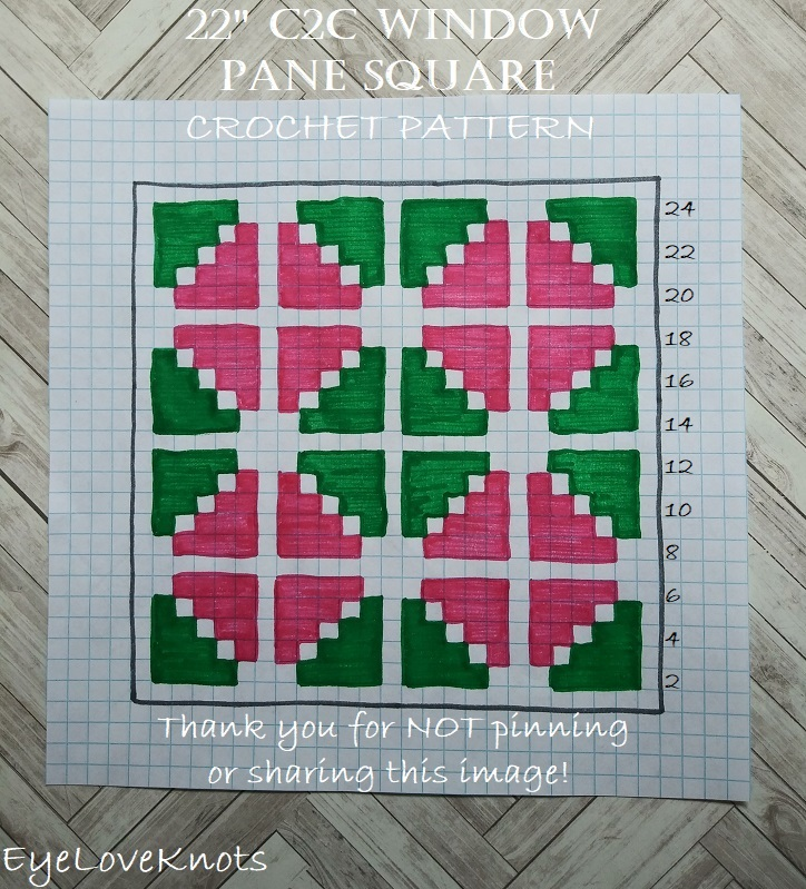 """Chart for 22"""" size of C2C Window Pane Square"""