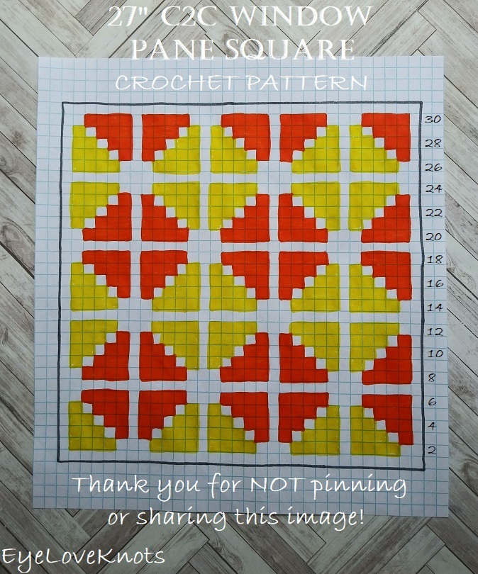 "Chart of 27"" size of C2C Window Pane Square"