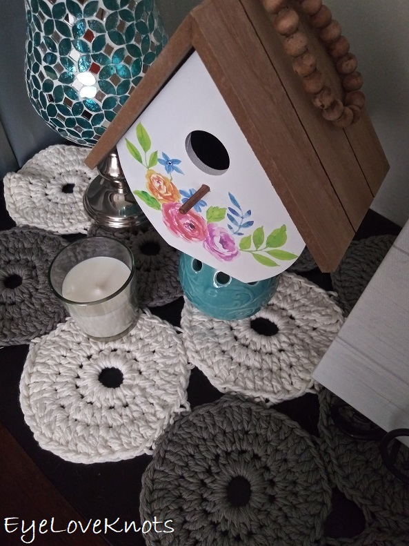 Crocheted Dara Table Runner decorated for Spring