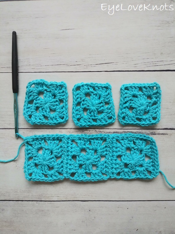 How to work the first row of the continuous join of granny squares