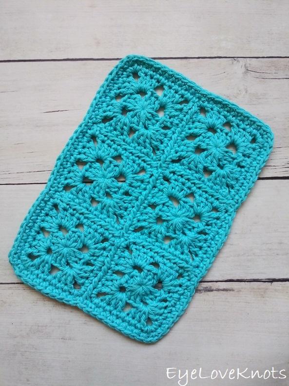 Finished blue granny square doily