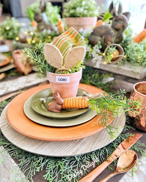 Garden themed tablescape from Dining Delight