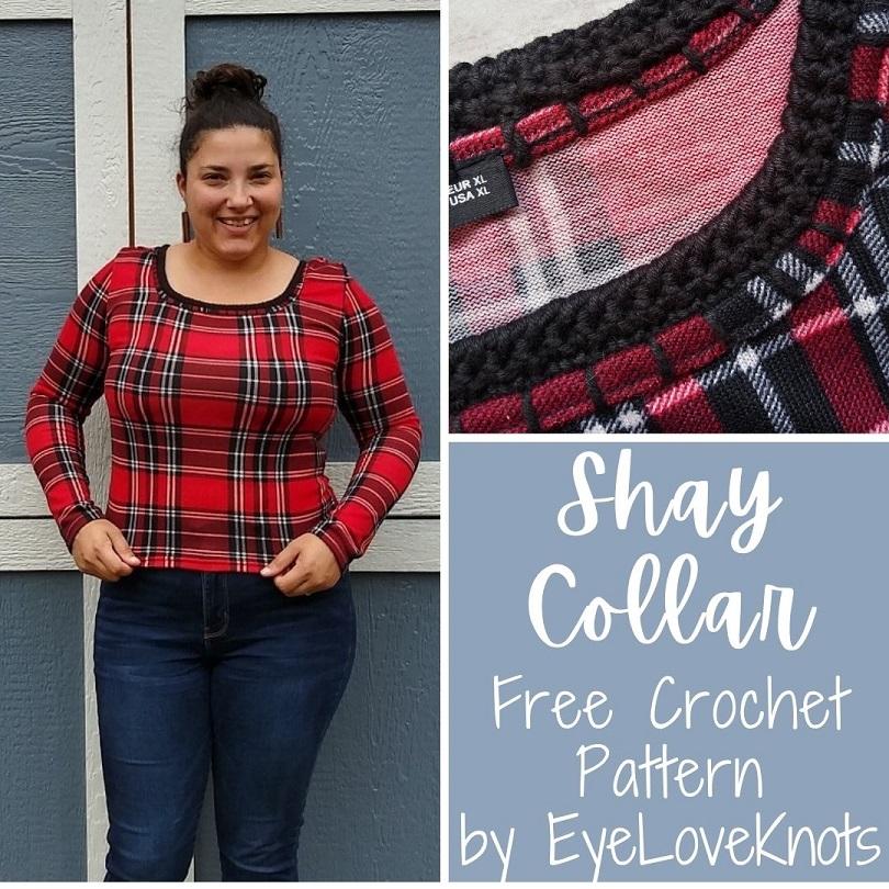 How to Crochet on Fabric: Shay Collar Free Crochet Pattern by EyeLoveKnots