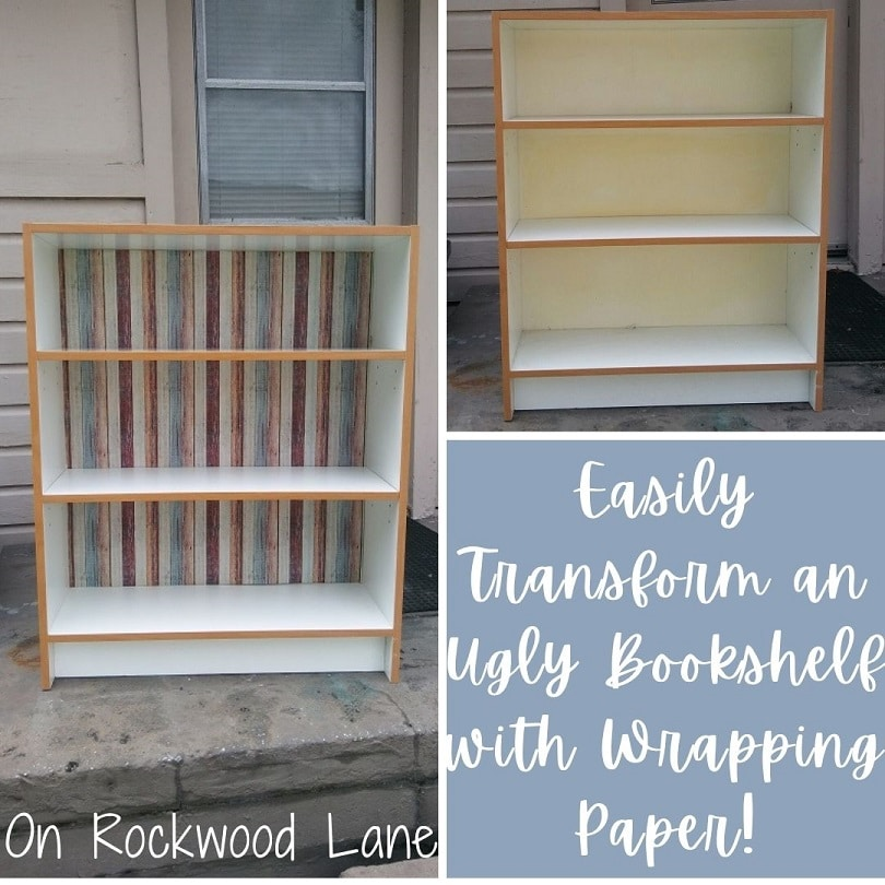 Easily transform an ugly bookshelf with wrapping paper