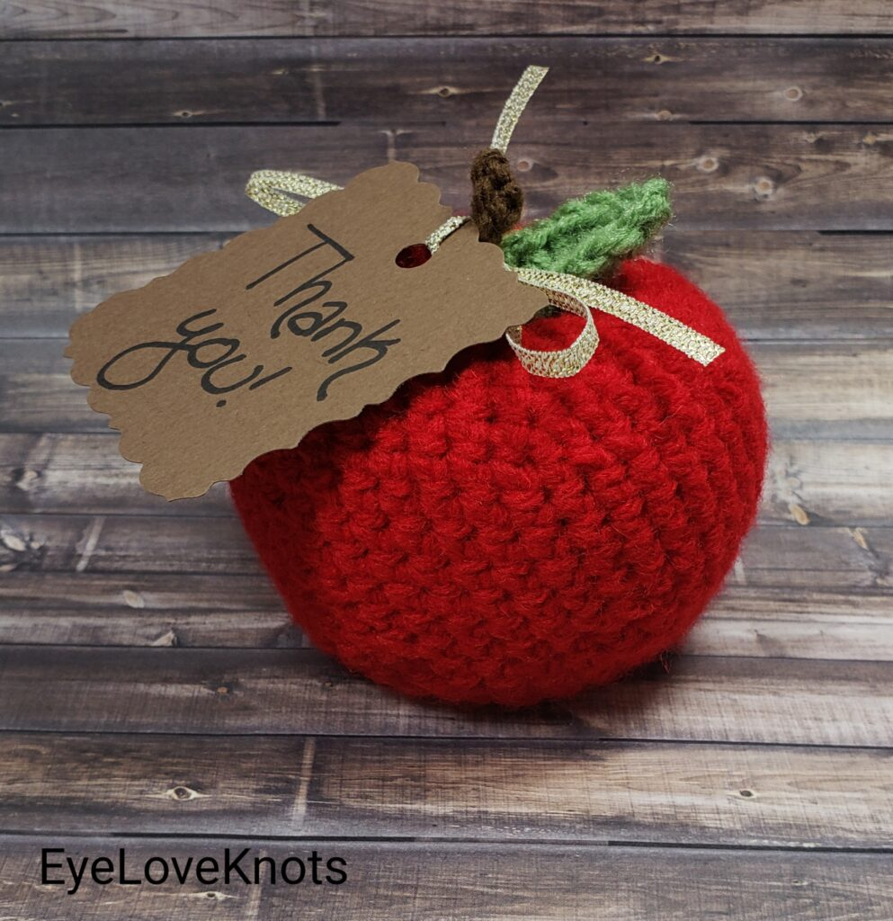 Crocheted apple with Thank You tag