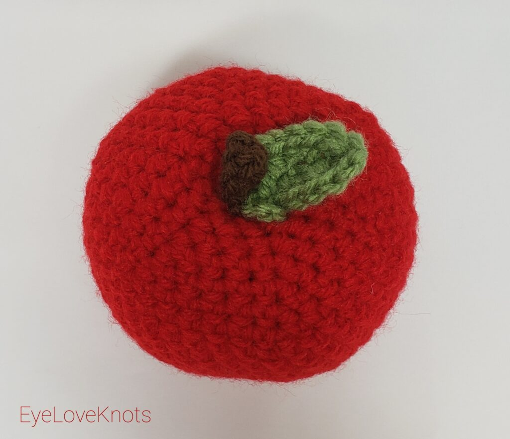 Red crocheted apple