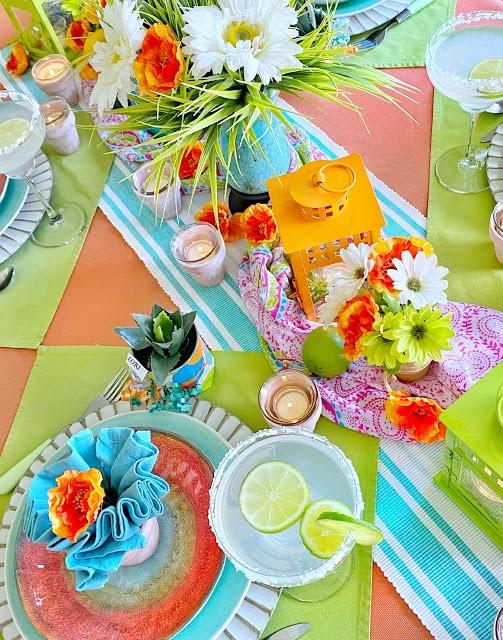 bright and cheery Cinco de Mayo tablescape