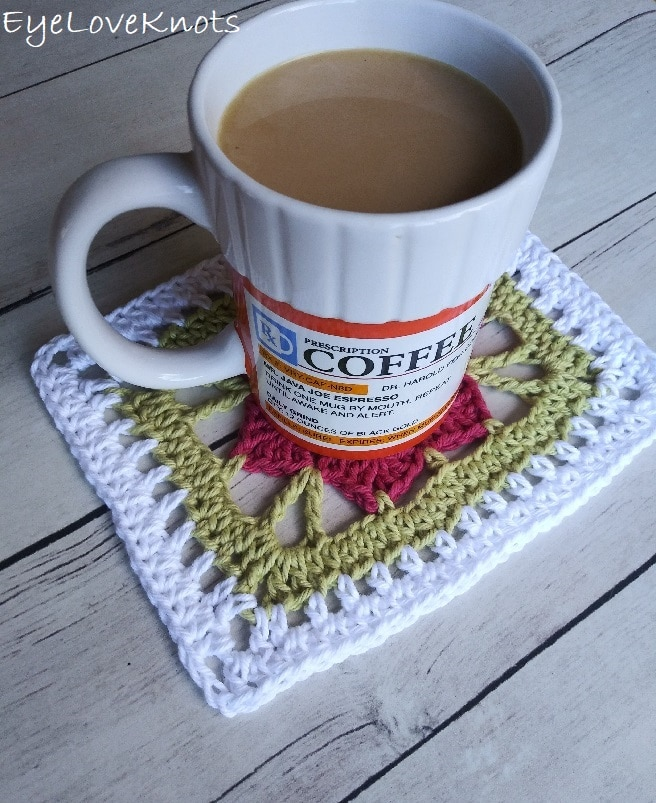 crocheted floral doily with coffee mug, EyeLoveKnots, Lily's Floral Rectangle Doily