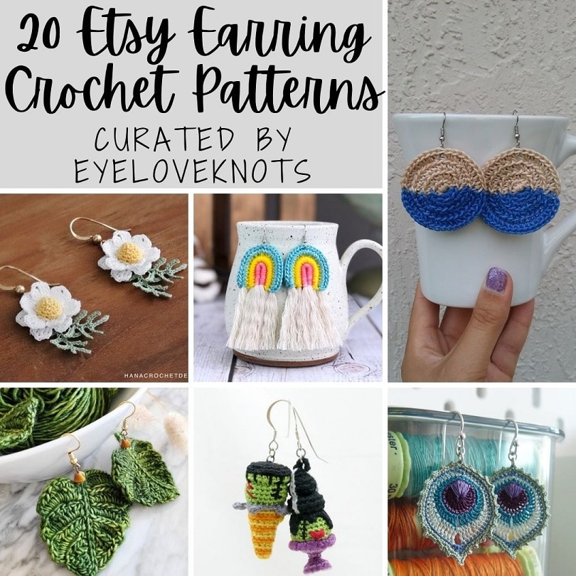 20 Etsy Earring Crochet Patterns by EyeLoveKnots