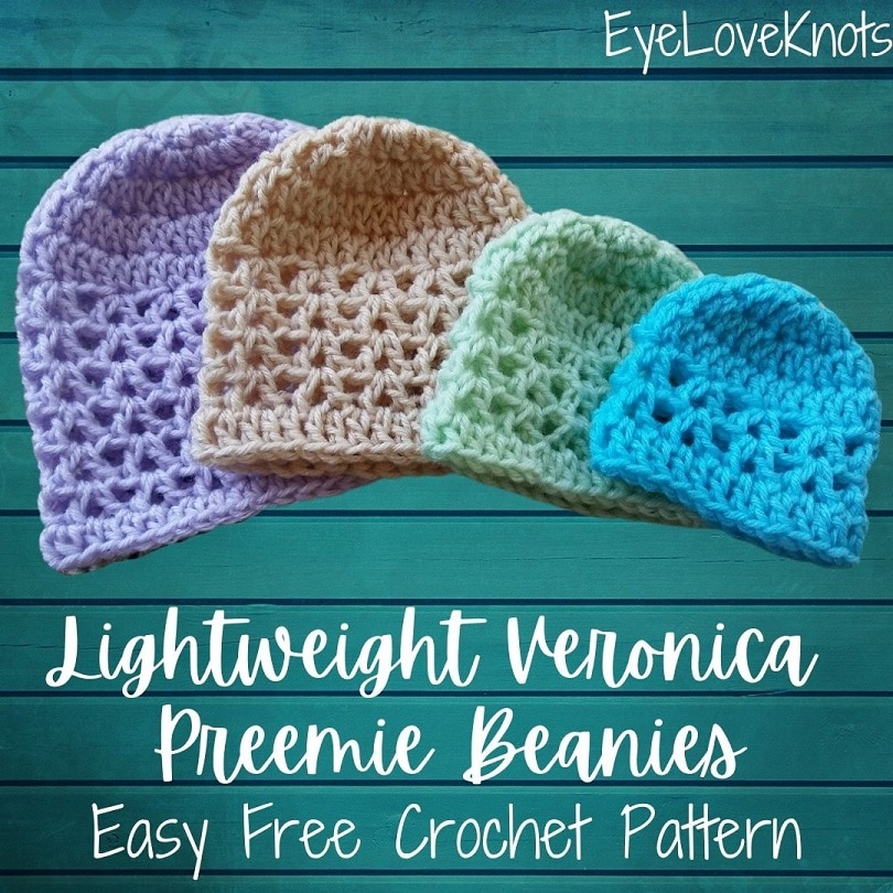 Lightweight Veronica Preemie Beanies Free Crochet Pattern by EyeLoveKnots